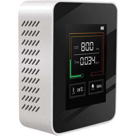 Medidor de CO2 de retroiluminacion de LCD cubierta de carbono Dioxido de CO2 Concentracion detector inteligente de la Calidad del Aire del probador del analizador con temperatura y humedad Display, Blanco, carga directa del USB
