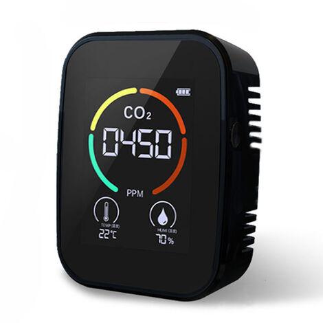 Medidor de CO2 multifuncional 3 en 1 Medidor digital de temperatura y humedad Monitor de calidad del aire Detector de dioxido de carbono, negro, 3 en 1