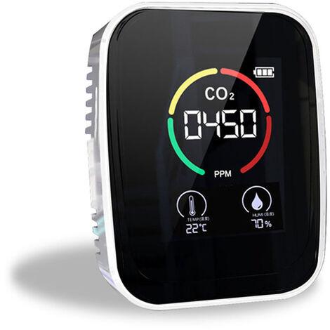 Medidor de CO2 multifuncional 3 en 1 Probador de humedad de temperatura digital Monitor de calidad del aire Detector de dioxido de carbono, blanco, 3 en 1