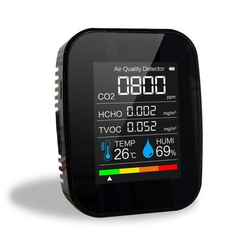 Medidor de CO2 multifuncional 5 en 1 Probador de humedad de temperatura digital Monitor de calidad del aire Detector de dioxido de carbono TVOC HCHO, Negro, 5 en 1