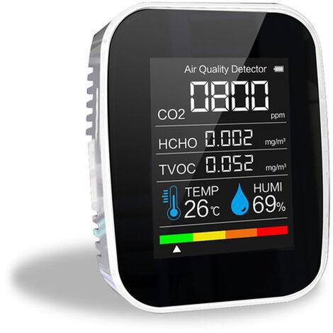Medidor de CO2 multifuncional 5 en 1 Probador de temperatura y humedad digital Monitor de calidad del aire Detector de dioxido de carbono TVOC HCHO, blanco, 5 en 1