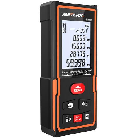 Medidor de distancia l¨¢ser digital ¨¢rea Volumen Medidor Buscador de rango (60 m)