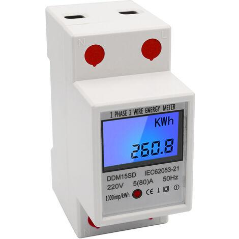 Medidor de energia de riel DIN monofasico, medidor electronico de KWh, 5-80A 220V 50Hz