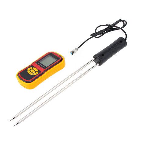 Medidor de humedad de grano digital portatil GM640, con probador de pantalla LCD de sonda de medicion, sin bateria