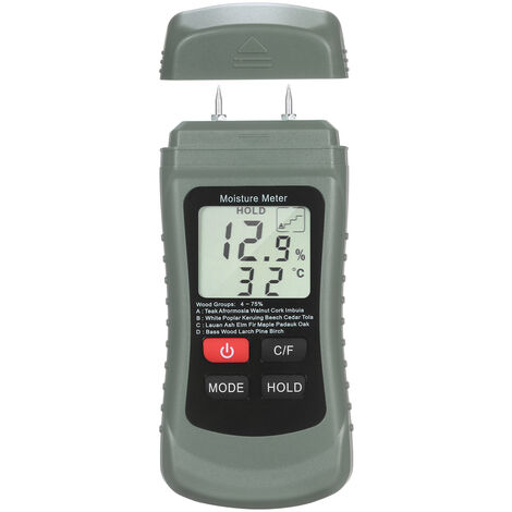 Medidor de humedad de madera digital LCD Detector Medidor de Humedad Humedo Pin Tipo de fugas de agua y humedad con 4 modos de retencion de datos ¡æ / ¨H metro de la temperatura
