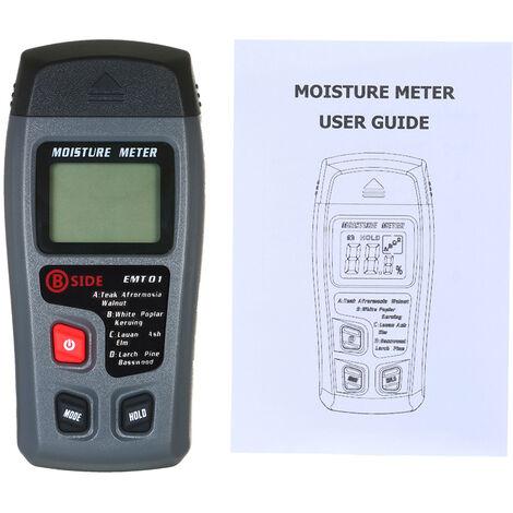 Medidor de humedad de madera para prueba de humedad, pantalla LCD de detector de fugas de agua de mano