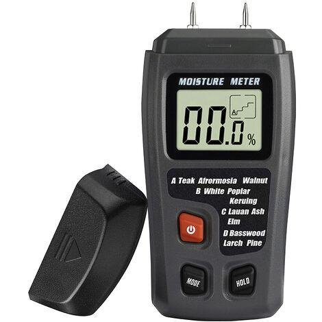 Medidor de humedad digital tipo pin KKmoon Detector de probador de humedad con pantalla LCD para medir materiales de construccion de madera Piso de madera dura, negro