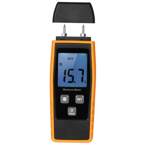 Medidor de humedad portatil Mini LCD digital de Madera Damp Medidor de humedad de la madera del detector de probador de la humedad, con 2 Pin sonda Rango 0% ~ 80%