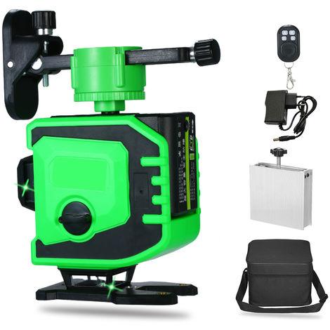 Medidor de nivel de 12 lineas 3D autonivelante, laser verde, con base pivotante