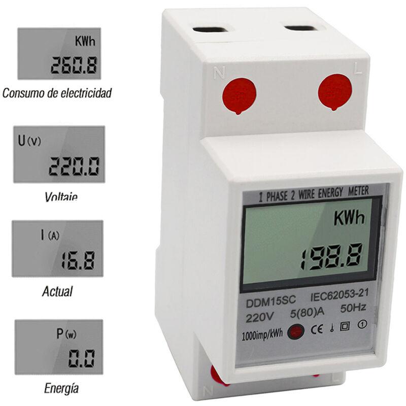 Medidor el/éctrico digital de riel DIN 2P Medidor de KWh electr/ónico 220V 15 A 60