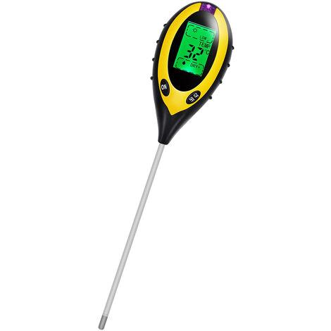 Medidor digital de humedad del pH del suelo 4 en 1, Niveles de pH Temperatura Probador de intensidad de la luz solar