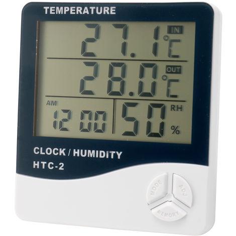 Medidor digital de temperatura y humedad, termometro de alarma de calendario, higrometro