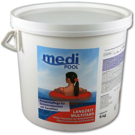 mediPOOL mediPOOL Langzeit-Multi Tabs 200 g, Multifunktionstabletten, Chlortabletten, Dauerchlorung, Flockmittel, Poolreinigung
