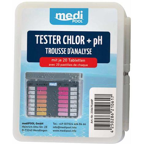 mediPOOL Tester Chlor/pH Pooltester mit 2x 20 Tabletten, Testtabletten, Testgerät mediPOOL - 19853