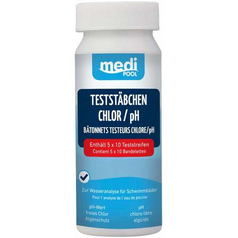 mediPOOL TestStäbchen Chlor/pH/Algenschutz 50 Stück Teststreifen, Teststrips mediPOOL - 19854