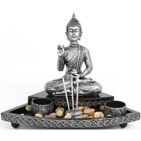 Meditating Buddha Incense & Tea Light Garden