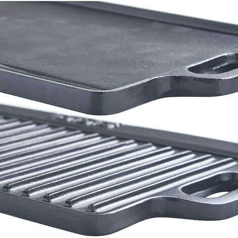 """main image of """"Medium 40cm Cast Iron Double Sided Griddle Plate Grill Pan"""""""