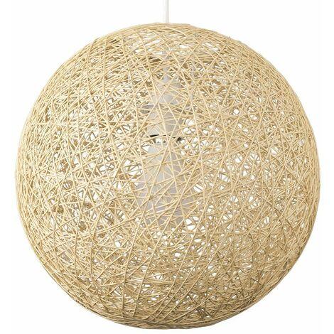 Medium Cream Lattice Wicker Rattan Globe Ball Ceiling Pendant Light Lampshade - Cream