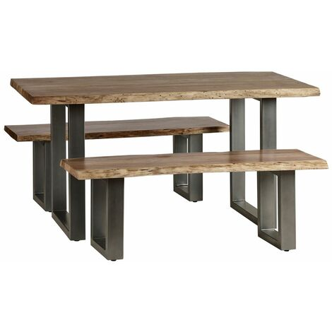 Medium Dining Set with 2 Benches Natural Essential Live Edge - Light Wood