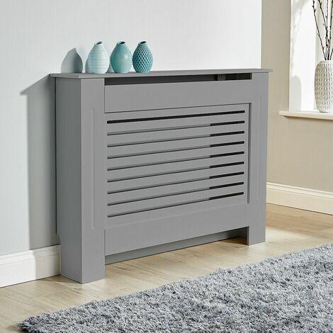 "main image of ""Medium Grey Radiator Cover Wooden MDF Wall Cabinet Shelf Slatted Grill York"""