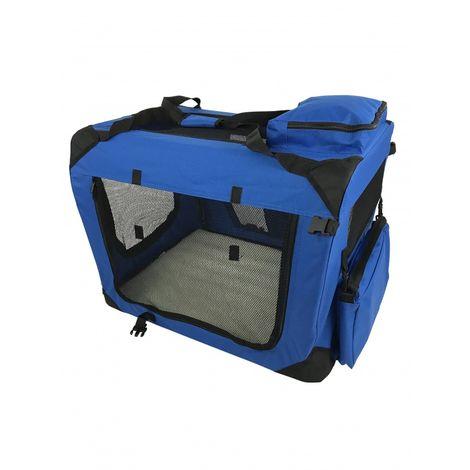 Medium Pet Carrier Folding Soft Crate - Blue