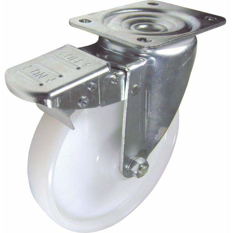 Image of 22-Ser' Swivel Plate 100MM Nylon Braked - Flexello