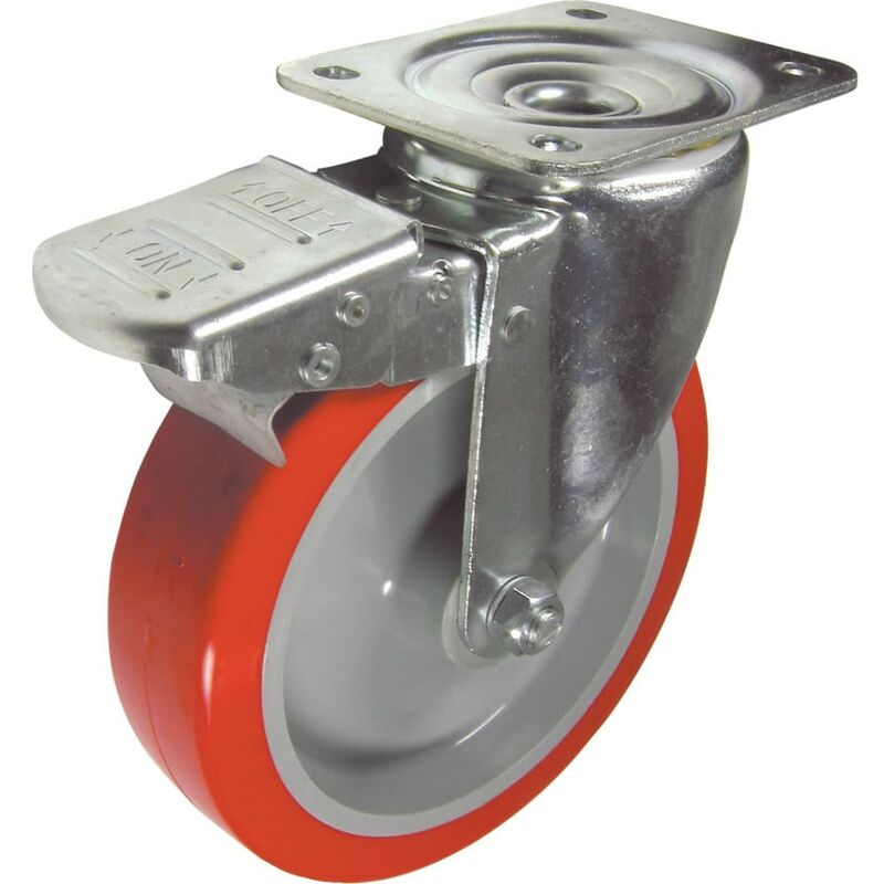 Image of 22-Ser' Swivel Plate 150MM Nylon/Polyurethane Braked - Flexello