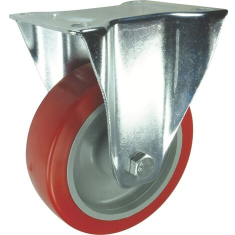 Medium to Heavy Duty Pressed Steel Castors - Polyurethane Tyred Wheel with Nylon Centre - Roller Bearing