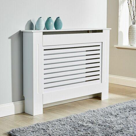 "main image of ""Medium White Radiator Cover Wooden MDF Wall Cabinet Shelf Slatted Grill York"""