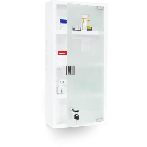 Medizinschrank EMERGENCY XXL Medikamentenschrank Metall und Glas Apothekerschrank fürs Bad HxBxT 57 x 27 x 12 cm mit magnetischer Glas-Tür 4 Ablagen für Medikamente und Verbandszeug, weiß