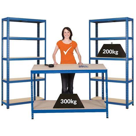 Mega Deal | 1x établi et 2x rayonnages pour charges lourdes | profondeur 30 cm - Coloris montants: bleu