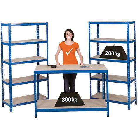Mega Deal | 1x établi et 2x rayonnages pour charges lourdes | profondeur 45 cm - Coloris montants: bleu