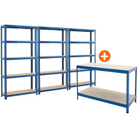 Mega Deal | 1x établi et 3 x rayonnages pour charges lourdes | profondeur 30 cm - Coloris montants: bleu