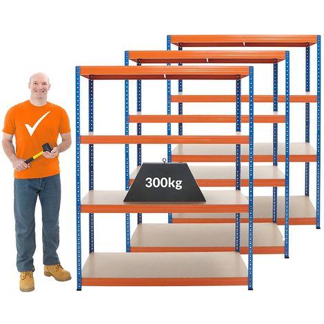 Mega Deal | 3x rayonnages pour charges lourdes - profondeur 60 cm | 300 kg par étagère - Coloris montants: bleu gentiane