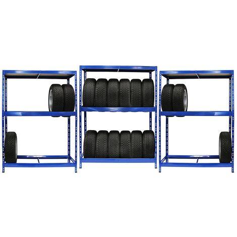 Mega Deal | 3x rayonnages pour pneus | 6 pneus par niveau | Charge max. 200 kg - Coloris montants: bleu