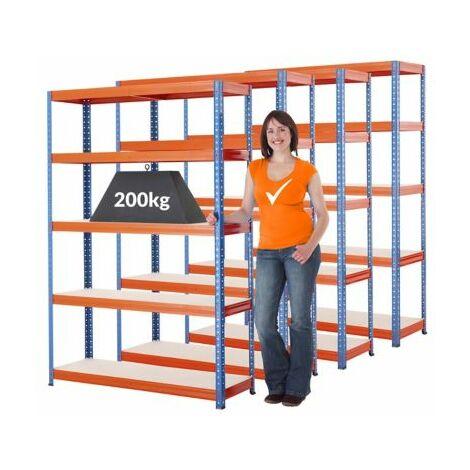 Mega Deal   4x Schwerlastregal - Tiefe 40 cm - 200 kg pro Fachboden