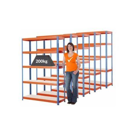Mega Deal   5x Schwerlastregal - Tiefe 40 cm - 200 kg pro Fachboden