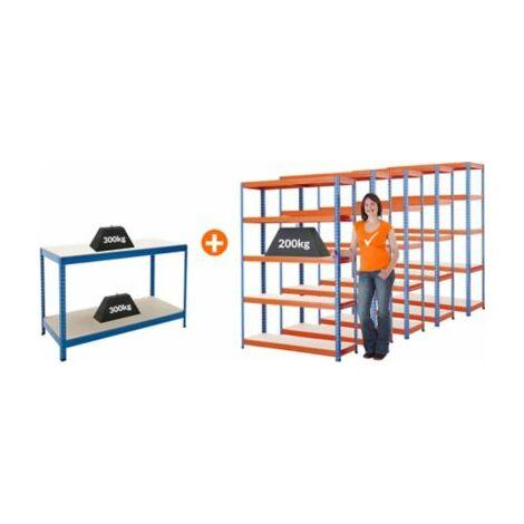 Mega Deal | 5x Schwerlastregal - Tiefe 40 cm und 1x Werkbank