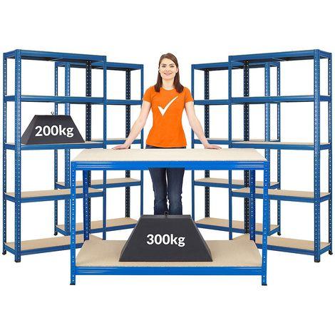 Mega Deal |Lot de 1x établi et 4x étagères métalliques | profondeur 30 cm - Coloris montants: bleu