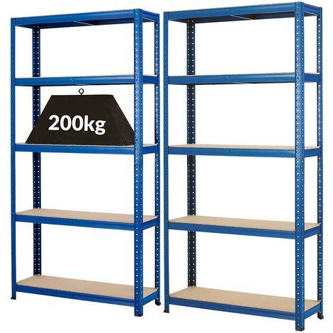 Mega Deal | Lot économique de 2 x rayonnage pour charges lourdes| Profondeur 30 cm | 200 kg charge max. par étagère