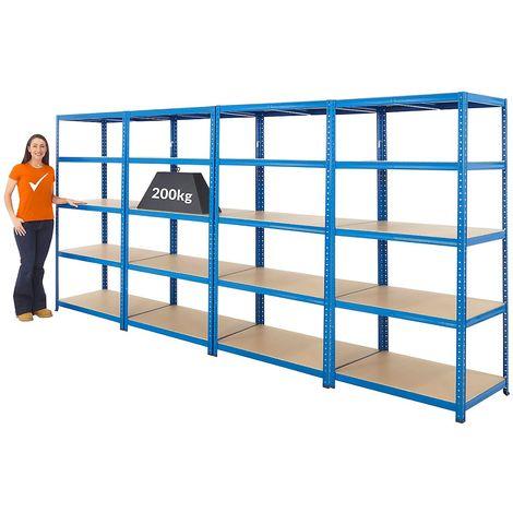 Mega Deal | Lot économique de 4 x rayonnage de garage pour charges lourdes | Profondeur 60 cm | 200 kg charge max. par