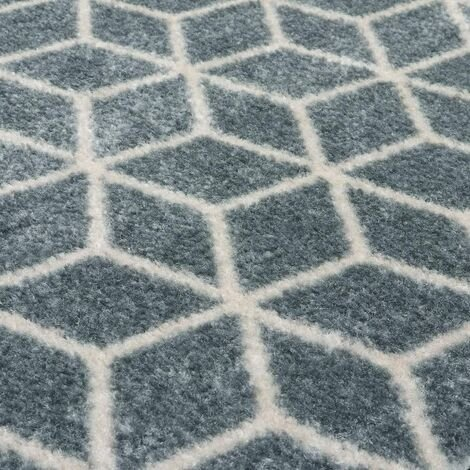"""main image of """"Mega Highly Absorbent Machine Washable Runner Mat, 3D Cube Design, Grey, White, One Size"""""""