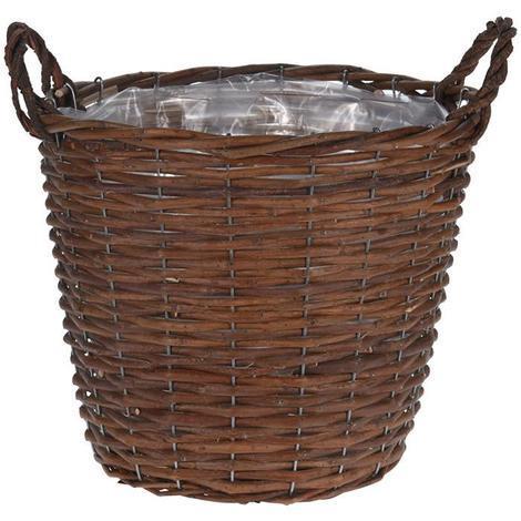 MEGANEI cesta mimbre con asas 31x32 cm