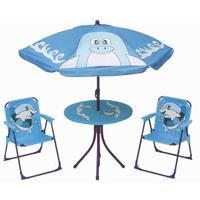 MEGANEI conjunto mesa + 2 sillones + sombrilla delfin