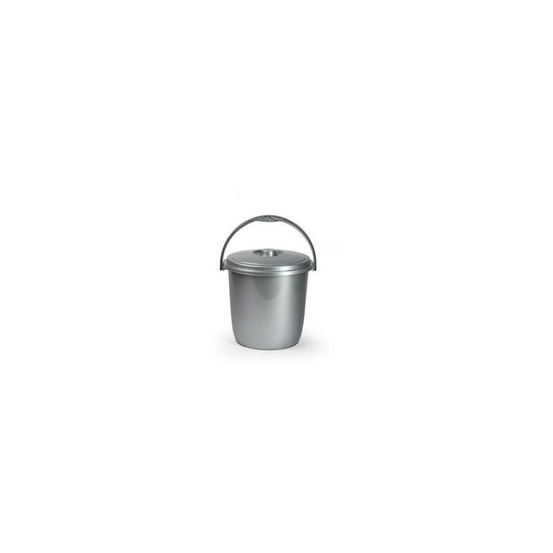 Cubo basura con tapa 15 litros plata eco - PLASTICFORTE