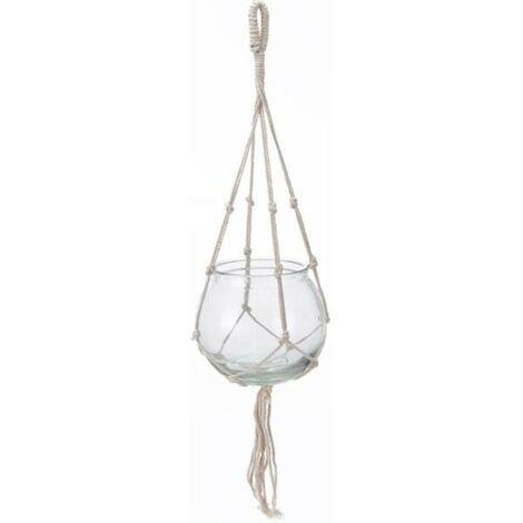 MEGANEI maceta colgar cuerda blanca vidrio