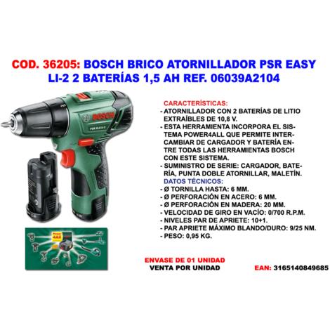 BOSCH BRICO.ATORNI PSR EASY LI-2 2 BATERIAS 1,5 AH 06039A210D