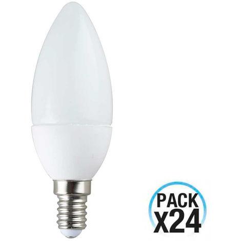 MegaPack 24 Bombillas LED Vela E14 6W Equi.40W 470lm 4000K 10000H ECO 1Primer Low Cost