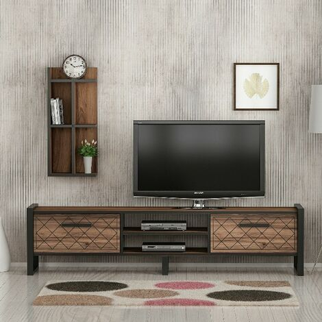 Megy TV Stand - with Doors, Shelves - for Living Room, made in Wood, Metal, 184 x 39 x 45 cm