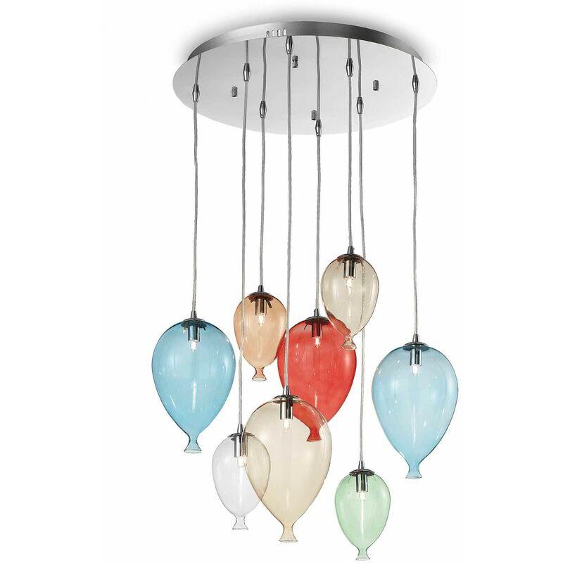 01-ideal Lux - Mehrfarbige Pendelleuchte CLOWN 8 Glühbirnen